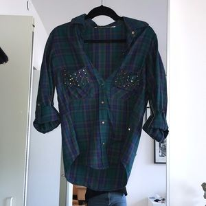 Zara green plaid button down with studded pockets